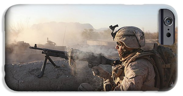 Recently Sold -  - Fed iPhone Cases - A U.s. Marine Provides Support By Fire iPhone Case by Stocktrek Images