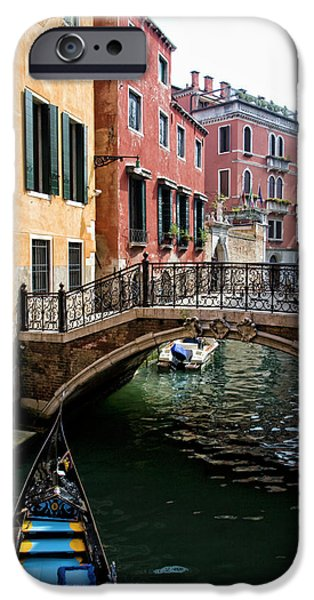 Green Canoe iPhone Cases - A Venetian Canal iPhone Case by Michelle Sheppard