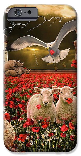 Sheep iPhone Cases - A Very Strange Dream iPhone Case by Meirion Matthias