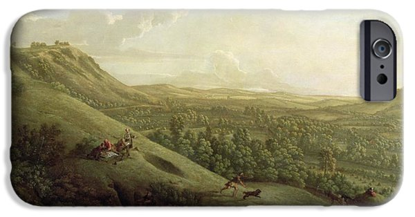 Dog Running. iPhone Cases - A View of Boxhill - Surrey iPhone Case by George Lambert