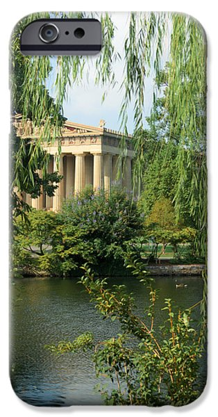 Willow Lake iPhone Cases - A View of the Parthenon 1 iPhone Case by Douglas Barnett