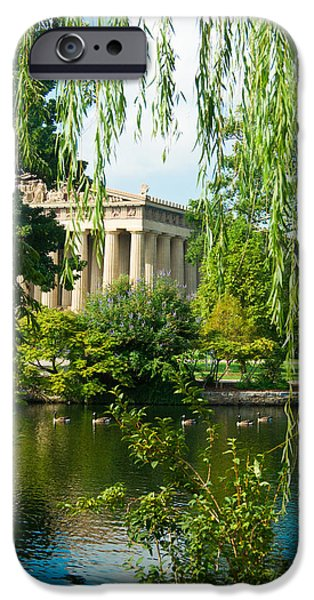Willow Lake iPhone Cases - A View of the Parthenon 12 iPhone Case by Douglas Barnett