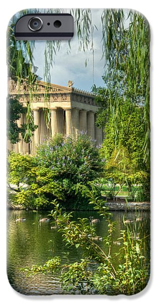 Willow Lake iPhone Cases - A View of the Parthenon 13 iPhone Case by Douglas Barnett