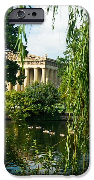 Willow Lake iPhone Cases - A View of the Parthenon 15 iPhone Case by Douglas Barnett