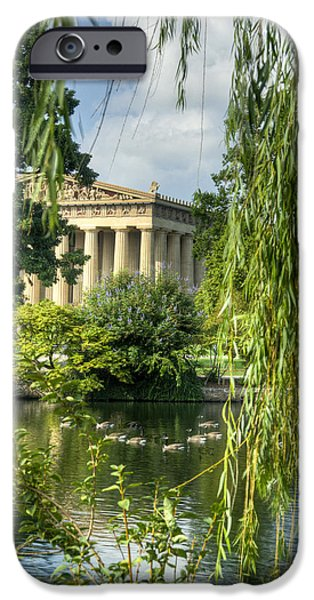 Willow Lake iPhone Cases - A View of the Parthenon 16 iPhone Case by Douglas Barnett