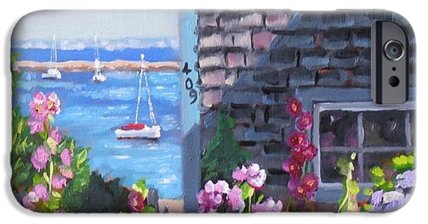 Cape Cod Paintings iPhone Cases - A Visit to P Town Jr iPhone Case by Laura Lee Zanghetti