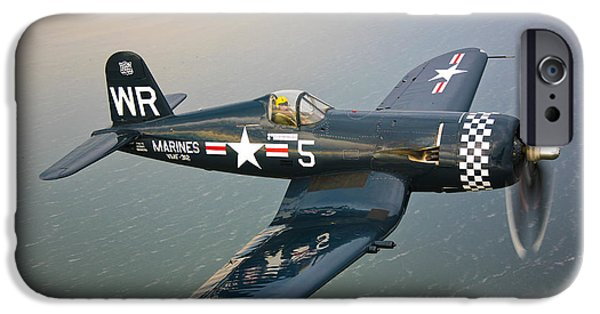 Shoulders iPhone Cases - A Vought F4u-5 Corsair In Flight iPhone Case by Scott Germain
