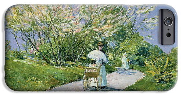 Childe iPhone Cases - A Walk in the Park iPhone Case by Childe Hassam