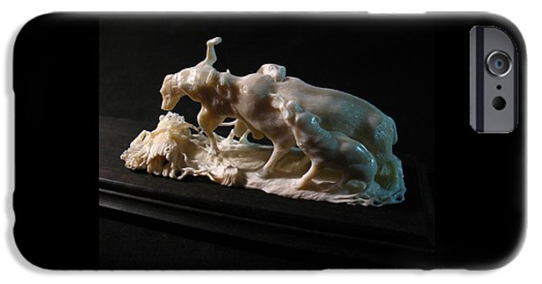 Dog Sculptures iPhone Cases - A Wild Boar and Dogs iPhone Case by Dmitry Gorodetsky