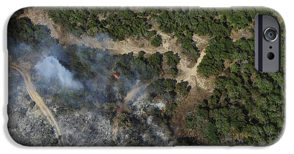 Wildfire iPhone Cases - A Wildfire Burns Land Near Austin iPhone Case by Stocktrek Images