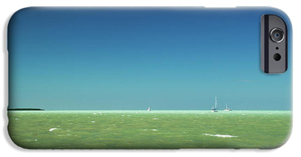 Sailboat Ocean iPhone Cases - A Windy Day on the Bay Islamorada Florida iPhone Case by Michelle Wiarda