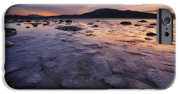 Sunset In Norway iPhone Cases - A Winter Sunset At Evenskjer In Troms iPhone Case by Arild Heitmann