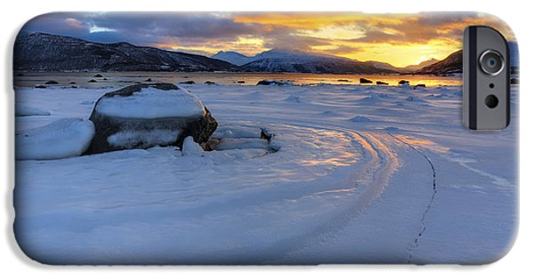 Sunset In Norway iPhone Cases - A Winter Sunset Over Tjeldsundet iPhone Case by Arild Heitmann