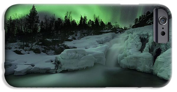 Landscape In Norway iPhone Cases - A Wintery Waterfall And Aurora Borealis iPhone Case by Arild Heitmann