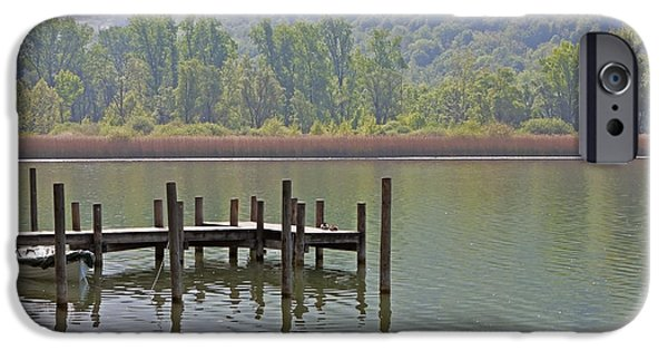 Piano iPhone Cases - A Wooden Pier At A Small Lake iPhone Case by Joana Kruse