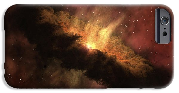 Astrophysics iPhone Cases - A Young Star Surrounded By A Dusty iPhone Case by Stocktrek Images