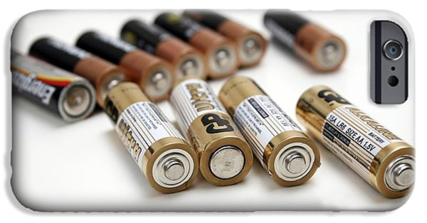 Electrical Equipment iPhone Cases - Aa Batteries iPhone Case by Photostock-israel