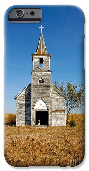 Nebraska iPhone Cases - Abandoned Church in a Field iPhone Case by Jill Battaglia