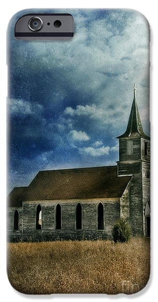 Nebraska iPhone Cases - Abandoned Church Stormy Sky iPhone Case by Jill Battaglia