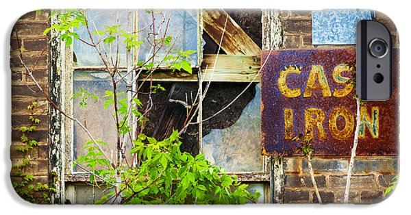 Vandalize Photographs iPhone Cases - Abandoned Factory with Rusted Metal Sign iPhone Case by Gordon Wood