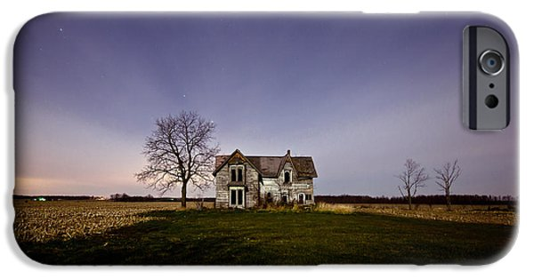Haunted House iPhone Cases - Abandoned Farmhouse at Night iPhone Case by Cale Best