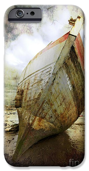 Abandoned iPhone Cases - Abandoned Fishing Boat iPhone Case by Meirion Matthias