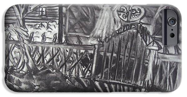 Haunted House Pastels iPhone Cases - Abandoned House with Gate iPhone Case by Casey P