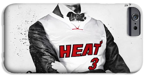 Dwyane Wade iPhone Cases - Abe Lincoln in a Dwyane Wade Jersey iPhone Case by Roly Orihuela