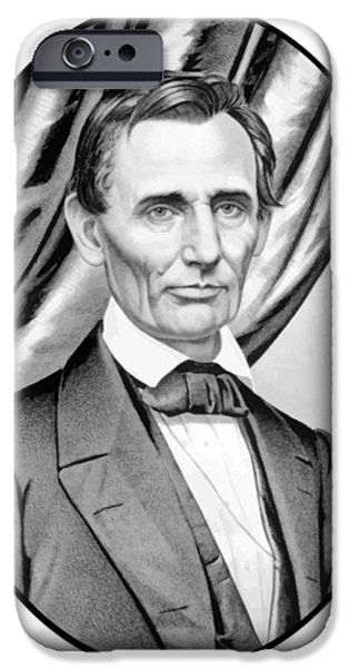 American History iPhone Cases - Abraham Lincoln Circa 1860 iPhone Case by War Is Hell Store