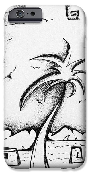 Abstract Beach Landscape Drawings iPhone Cases - Abstract Art Black and White Tropical Sketch I by MADART iPhone Case by Megan Duncanson