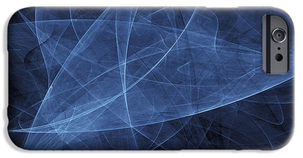 Cyberspace iPhone Cases - Abstract Blue Illustration iPhone Case by Vlad Gerasimov