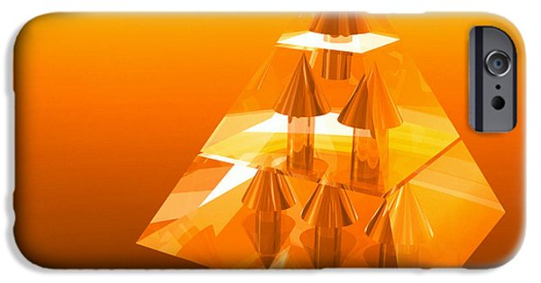 Hierarchy iPhone Cases - Abstract Computer Artwork Of A Pyramid Of Arrows iPhone Case by Laguna Design