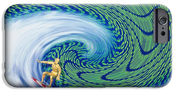Cyberspace iPhone Cases - Abstract Computer Artwork Of Surfing The Internet iPhone Case by Laguna Design