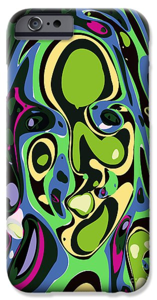 Graphic Design iPhone Cases - Abstract face 4 iPhone Case by Chris Butler