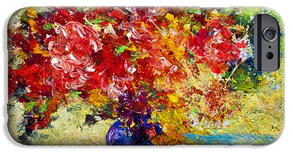 Landscape. Scenic iPhone Cases - Abstract Floral 1 iPhone Case by Marion Rose