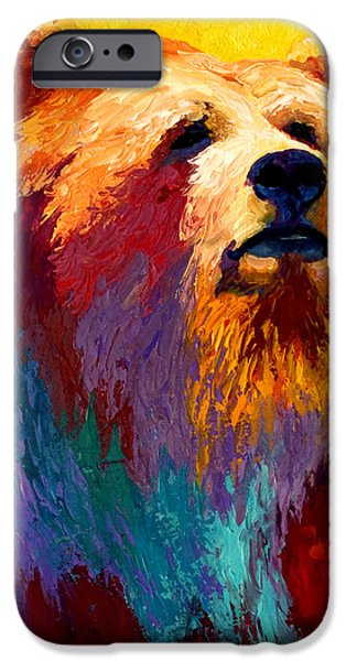 Forest Paintings iPhone Cases - Abstract Grizz iPhone Case by Marion Rose