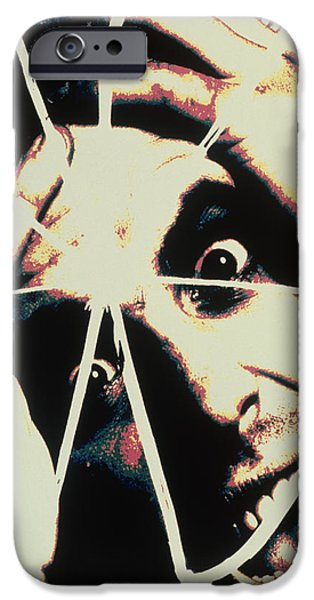 Multiple Identities iPhone Cases - Abstract Image Of Man With Shattered Personality iPhone Case by Victor De Schwanberg