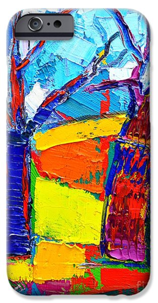 Abstract Expressionist iPhone Cases - Abstract Landscape - Dancing Trees iPhone Case by Ana Maria Edulescu