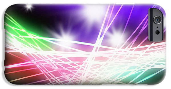 Digital Abstract Art iPhone Cases - Abstract of stage concert lighting iPhone Case by Setsiri Silapasuwanchai