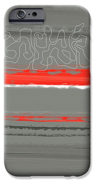 Office iPhone Cases - Abstract Red 3 iPhone Case by Naxart Studio