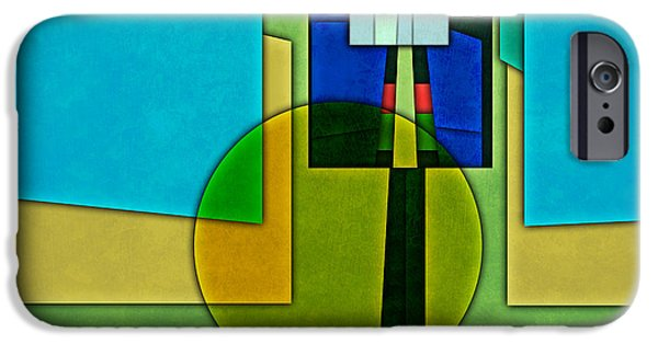 Layered Digital Art iPhone Cases - Abstract Shapes Color Two iPhone Case by Gary Grayson