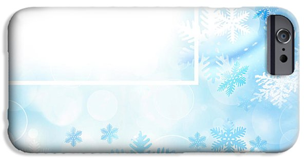 Wintertime iPhone Cases - Abstract snowflake background iPhone Case by Anna Omelchenko