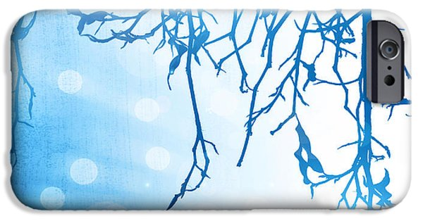 Wintertime iPhone Cases - Abstract winter background iPhone Case by Anna Omelchenko