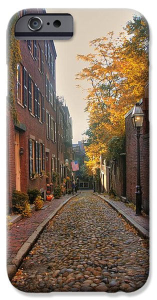 Autumn In New England iPhone Cases - Acorn St. 3 iPhone Case by Joann Vitali
