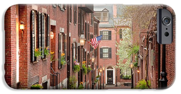 City. Boston iPhone Cases - Acorn Street iPhone Case by Susan Cole Kelly