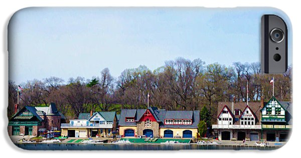 Boathouses iPhone Cases - Across from Boathouse Row - Philadelphia iPhone Case by Bill Cannon