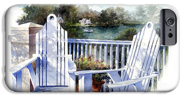 Chair Paintings iPhone Cases - Adirondack Chairs Too iPhone Case by Andrew King