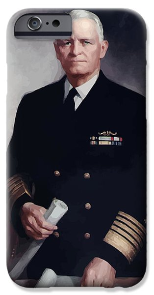 Warishellstore Paintings iPhone Cases - Admiral Chester Nimitz iPhone Case by War Is Hell Store