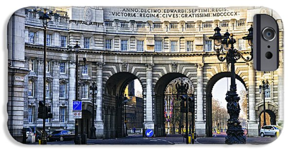 Lamppost iPhone Cases - Admiralty Arch in Westminster London iPhone Case by Elena Elisseeva
