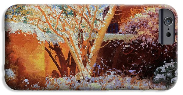 Winter Landscape Paintings iPhone Cases - Adobe wall with tree in snow iPhone Case by Gary Kim